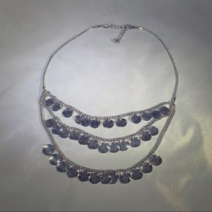 Silver double row round pendants necklace